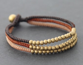 Three Colors Earth Tone Woven Bracelet