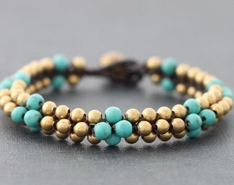 Beaded Bracelets Brass Woven Turquoise Round Cuff