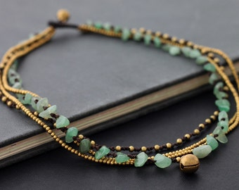 Jade Multi Strand Brass Necklace