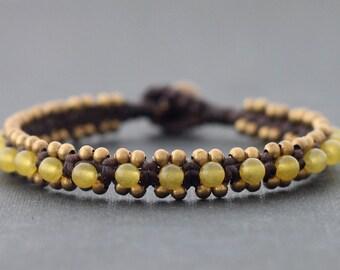 Lemon Jade Beaded Bracelet Cuff
