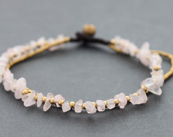 Rose Quartz 2 Strand Anklet