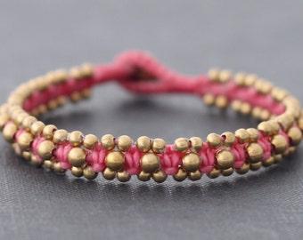 Pink Brass Woven Bracelet