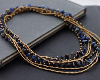 Lapis lazuli Long Wrap Necklace