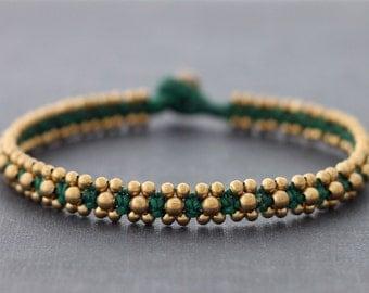 Green Beaded Brass Anklet
