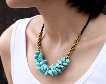 Turquoise Beaded Chunky Necklace