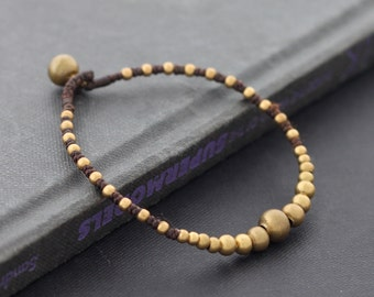 Simple Brass Beaded Bracelet
