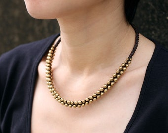 Brass Ball Woven Necklace