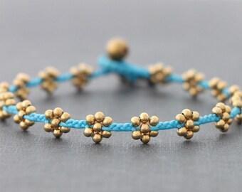 Blue Flower Brass Braided Anklet