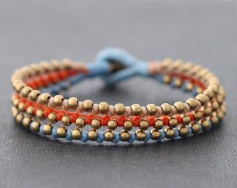 Orange Blue Brass Beaded Bracelet