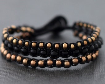 Black Rose Gold Beaded Bracelet