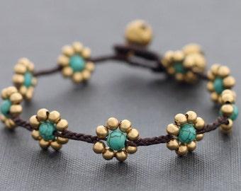 Daisy Turquoise Braided Bracelet