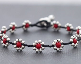 Daisy Coral Silver Anklet