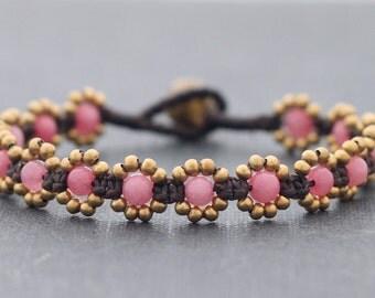 Mini Daisy Cherry Quartz Bracelet
