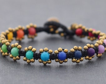 Stone Rainbow Beads Bracelets, Brass Beaded Bracelets Mini Daisy Rainbow Bracelets