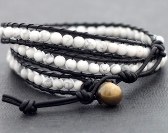 Leather Wrap Beaded Howlite Bracelet