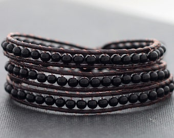 Leather Wrap Beaded Onyx Bracelet