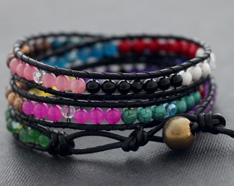 Color Block Leather Wrap Bracelet