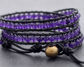 Leather Wrap Beaded Amethyst Bracelet