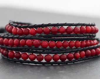 Leather Wrap Beaded Coral Bracelet