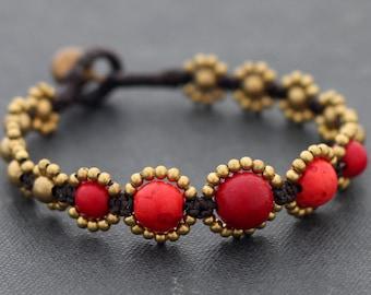 Coral Rhythm Beaded Bracelet