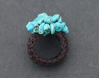 Turquoise Knitted Ring