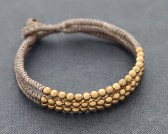 Bead Bracelets Woven Strand Taupe Multi Strand Gold