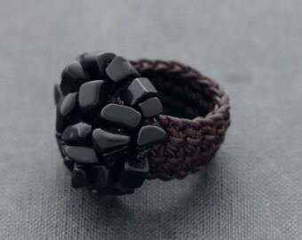 Black Onyx Knitted Ring
