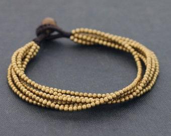 Beaded Bracelets Brass 6 Strand Woven