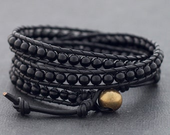 Black On Black Onyx Wrap Bracelet Anklet