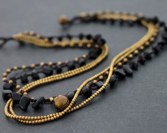 Black Onyx Layer Chain Necklace