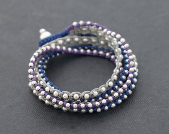 Blue Boho Rock Warp Silver Bracelet Necklace
