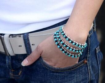Turquoise Silver Beaded Warp Bracelet