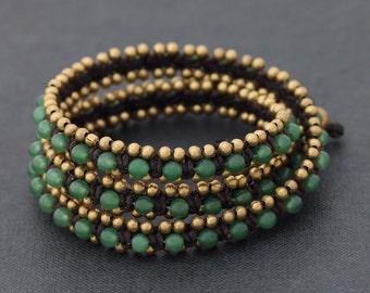 Jade Brass Beaded Wrap Bracelet