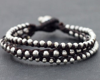 Silver Brown Rocker Bracelet