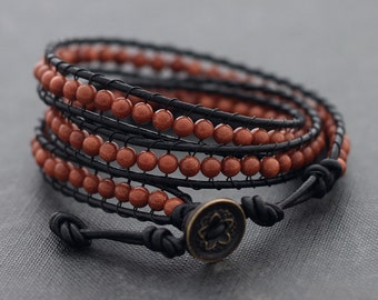 Goldstone Leather Wrap Beaded Bracelet