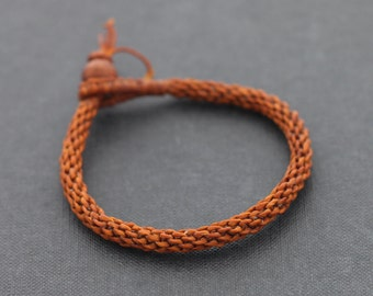 Men Woven Rust Brown Bracelet