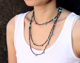 Necklace Turquoise Long Wrap Woven
