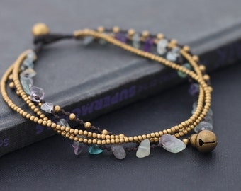 Rainbow Fluorite Layer Anklet