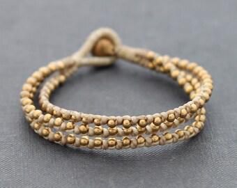 Ivory Brass Beaded Bracelet
