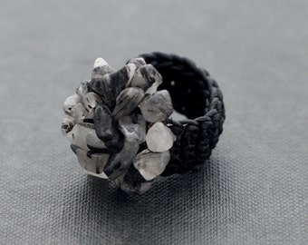 Black Rutilated  Knitted Ring