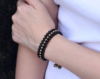 Black Onyx Beaded Band Bracelet