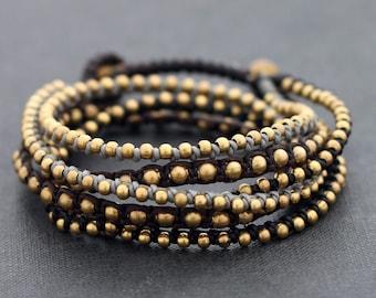 Monotone Boho Rock Warp Brass Bracelet Necklace
