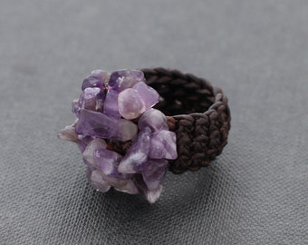 Amethyst Knitted Adjustable Ring