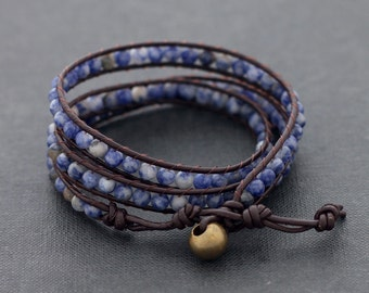 Brown Leather Wrap Beaded Sodalite Bracelet