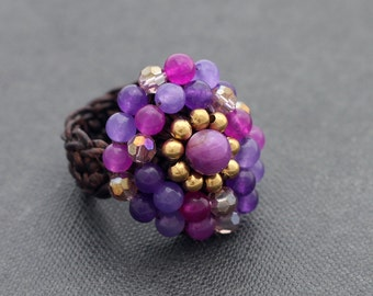 Violet Glam Cocktail Knitted Ring
