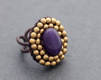 Amethyst Oval Beaded ring