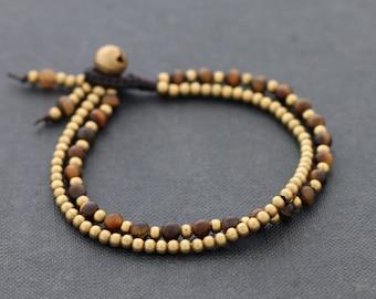 Tiger Eye Round Basic Brass Bracelet