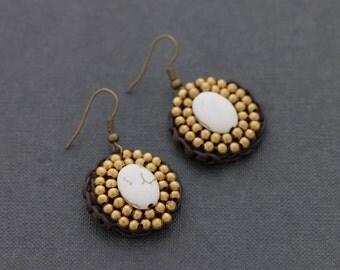 White Turquoise Oval Beaded Earrings