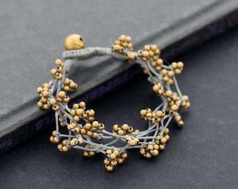 Free Form Brass Grey Bracelet