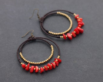 Coral Chandelier Stone Earrings